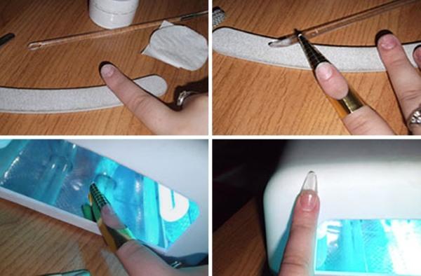 Наращивание ногтей в домашних условиях гелем, акрилом, на формах, с помощью типс, салфеток самой себе