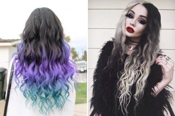 Мелирование на темные средние волосы. Модный цвет на кончиках, вид сзади и спереди, фото
