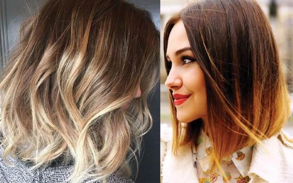 Колорирование волос на темные волосы средней длины, короткие, длинные. Фото модных вариантов