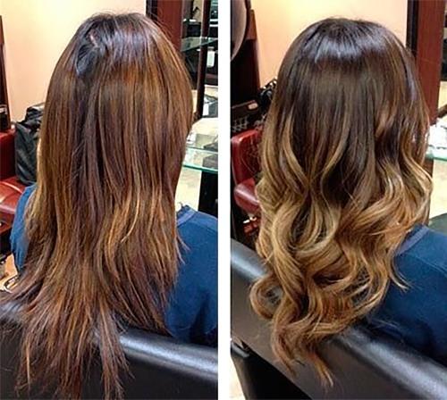 Омбре на темные и темно-русые короткие, средние, длинные волосы – модные стрижки с челкой и без нее. Фото