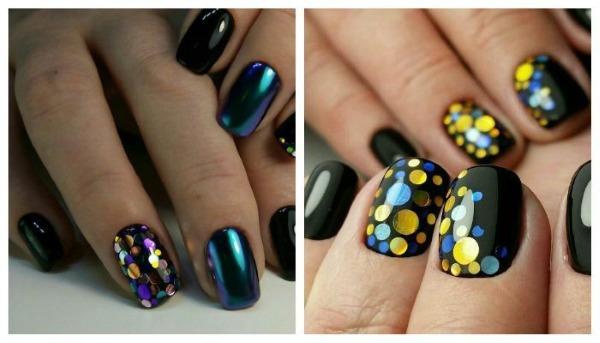Дизайн ногтей в черном цвете, с черным лаком, золотом, серебром, стразами. Новинки и фото