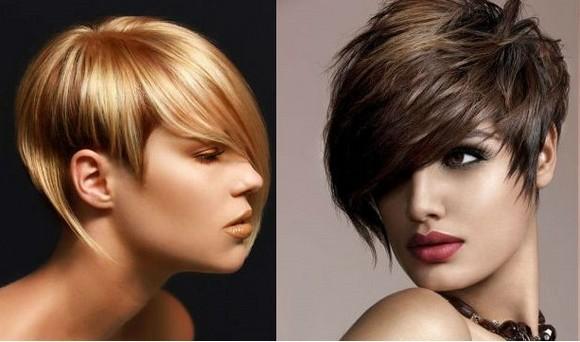 Асимметричные женские стрижки на короткие волосы для круглого лица, овального, треугольного. Фото, вид спереди и сзади