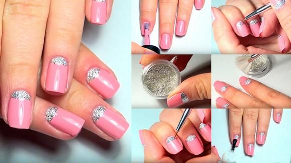 Нежно розовый маникюр гель лаком с блестками, втиркой, стразами, серебром, черным, белым, голубым, золотым. Фото