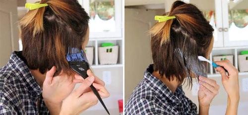 Омбре на русые волосы средней длины, каре: цветное, пепельное. Окрашивание в домашних условиях. Фото