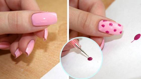 Простые рисунки на ногтях лаком, гель-лаком, иголкой, акриловыми красками, пудрой. Модный маникюр пошагово в домашних условиях