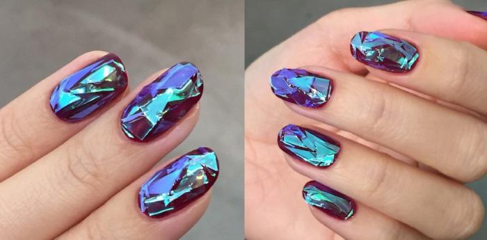 Битое стекло на ногтях. Фото, особенности, как делать. Актуальные новинки 2020