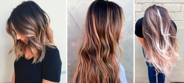 Сложное окрашивание на темные волосы средней длины, короткие, длинные. Фото, техники