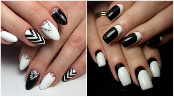 Маникюр с черным и белым лаком на короткие и длинные ногти. Фото, дизайны