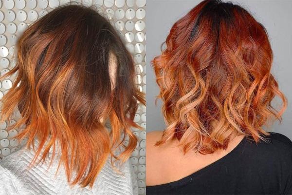 Рыжее омбре на темные волосы каре, средней длины, длинные. Фото, инструкция окрашивания