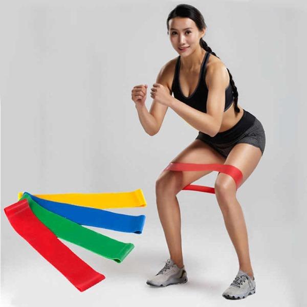 Упражнения с фитнес лентой эластичной резиновой, эспандер, латексная, мини, силиконовая