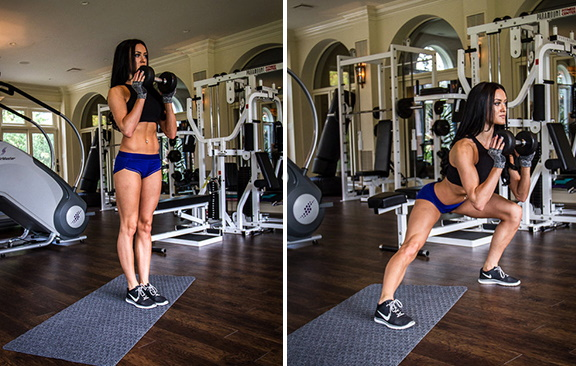 Выпады на каждую ногу. Как это, техника с гантелями, выпрыгиванием наверх, весом для девушек. Фото