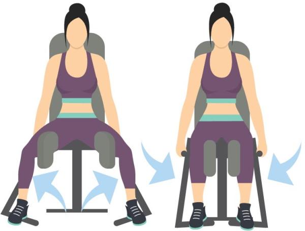 Отведение ног, бедра в тренажере сидя, стоя, назад, в стороны. Техника