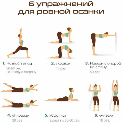 Упражнения для ровной осанки для женщин, подростков в домашних условиях